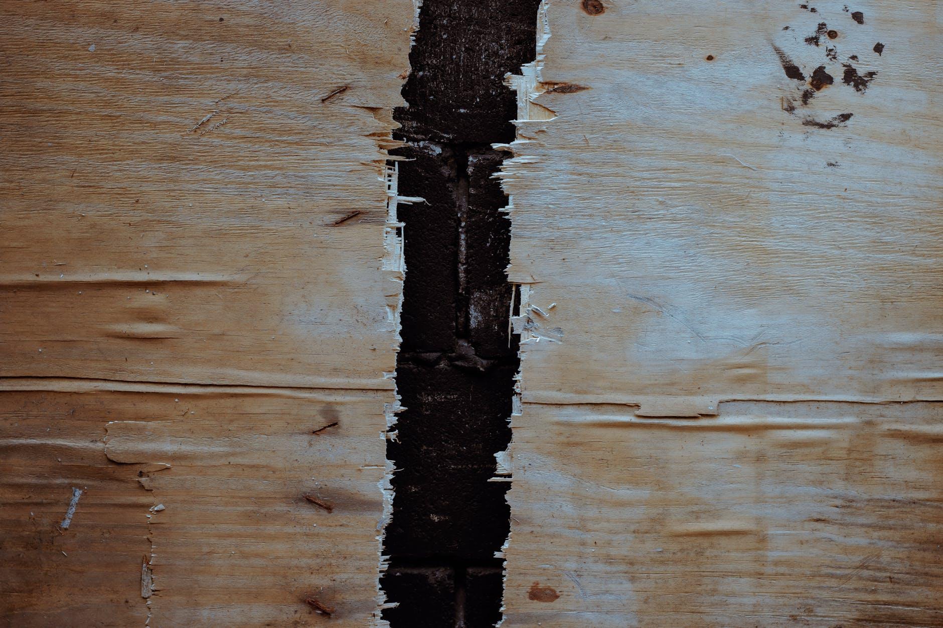 broken wood on black background